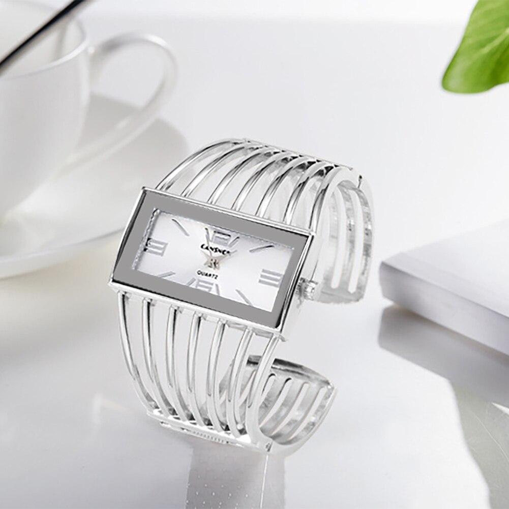 Analog Display Women Clock Rectangle Dial Bangle Watch Shock Resistant Female Watch Luxury Ladies Quartz Wristwatches