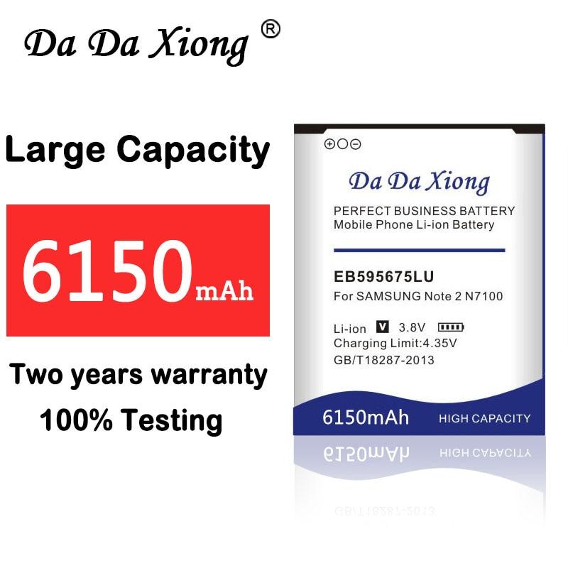 100% nueva 6150mAh EB595675LU de la batería para Samsung Galaxy nota 2 N7100 E250 LTE N7105 N7102 T889 L900 Verizon i605 teléfono