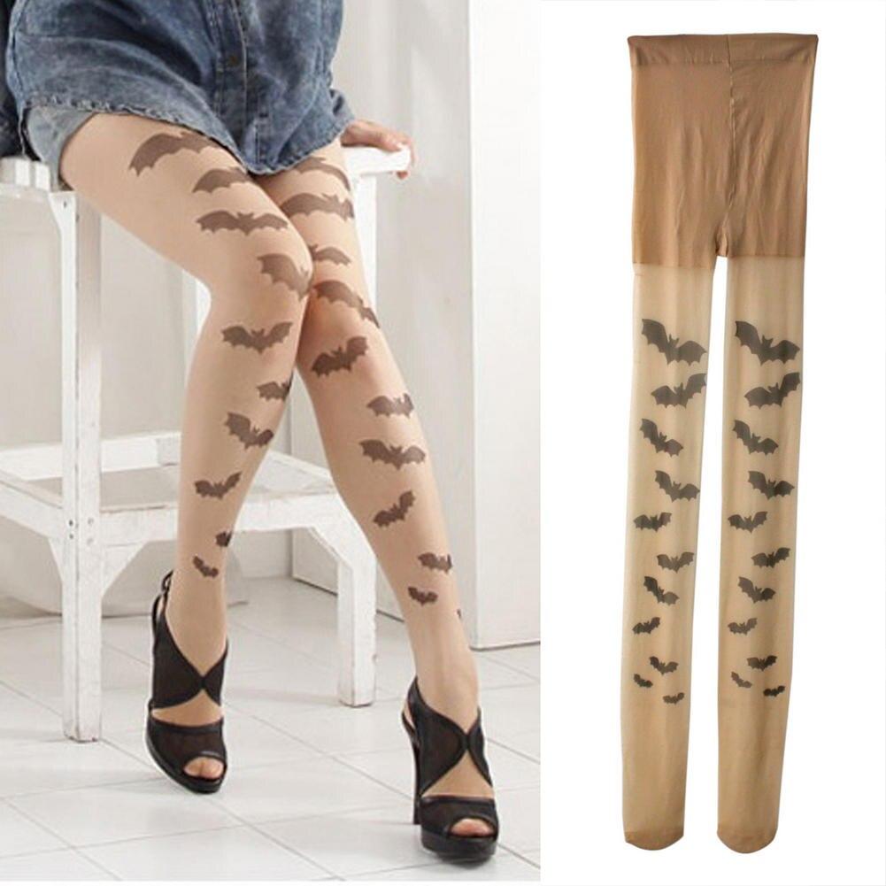 Модные женские колготки в стиле панк, готические, с тату «летучей мыши», прозрачные тонкие колготки, винтажные, сексуальные, для Хэллоуина