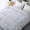 1 pc שחור ולבן אהבת מכתב loverly מודפס אלגנטי אירופאי צמר שמיכה/כיסוי מיטה/שמיכה/שמיכה/ שמיכת הקיץ # sw