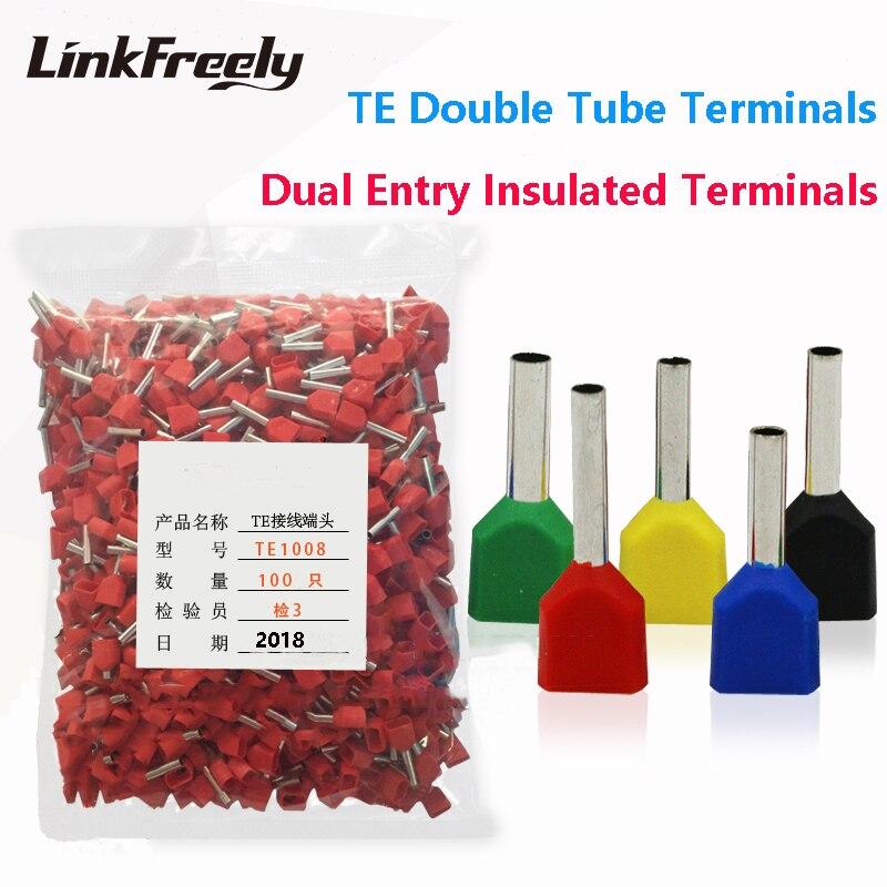 1000pcs TE TE7508 TE1008 TE1508  TE2508 TE4012 TE6014 Double Pipe Insulated Cold Press Terminal Needle End Connector Terminals