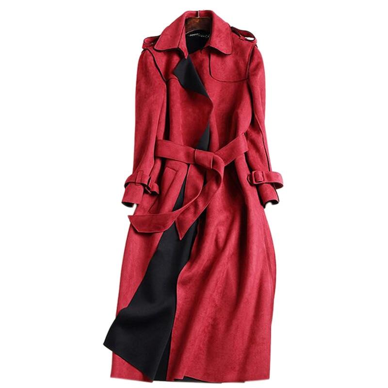 2020 novo outono camurça trench coat mulheres abrigo mujer longo elegante outwear feminino casaco fino vermelho camurça cardigan trench c3487