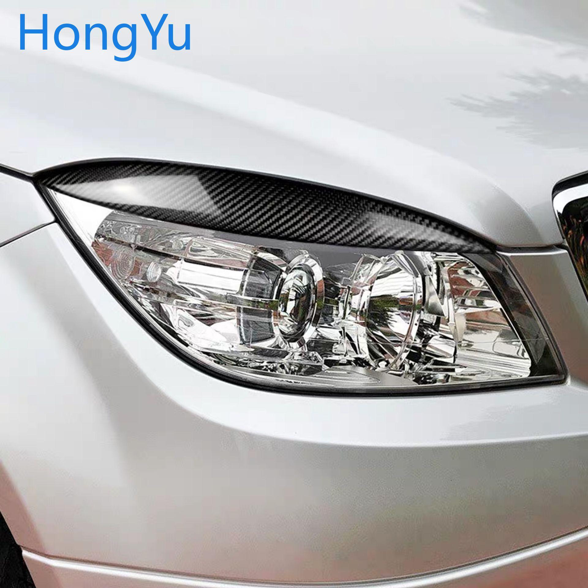 Real Carbon Fiber Car Front Headlight Eyebrows Eyelids For Mercedes For Mercedes Benz W204 C180 C200 C300 C350 C63 2008-2011