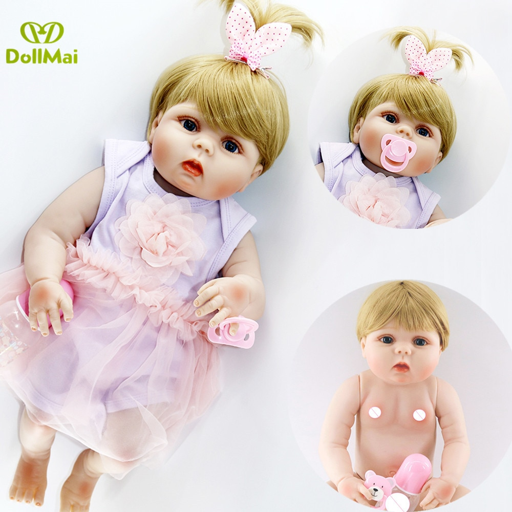 "Reborn dolls full body silicone reborn babies 23""57cm purple dress blond hair realistic girl bebe alive reborn bonecas kids gift"