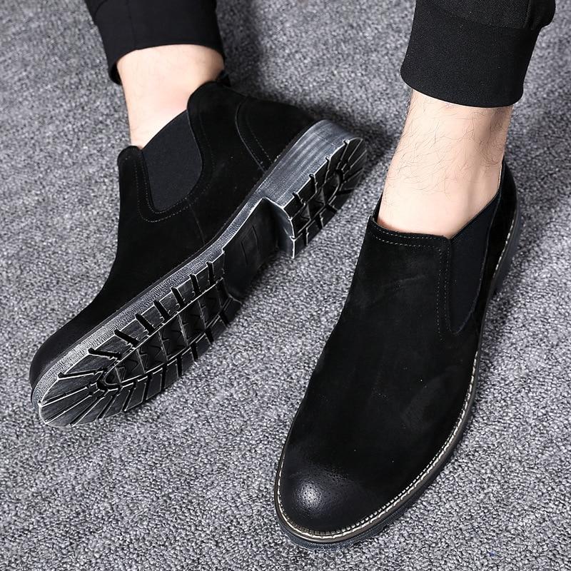 Nueva moda para hombre Botas Chelsea invierno otoño Casual estilo Oxford botas al tobillo hombre vaca suede punta redonda Zapatos de vestir formales