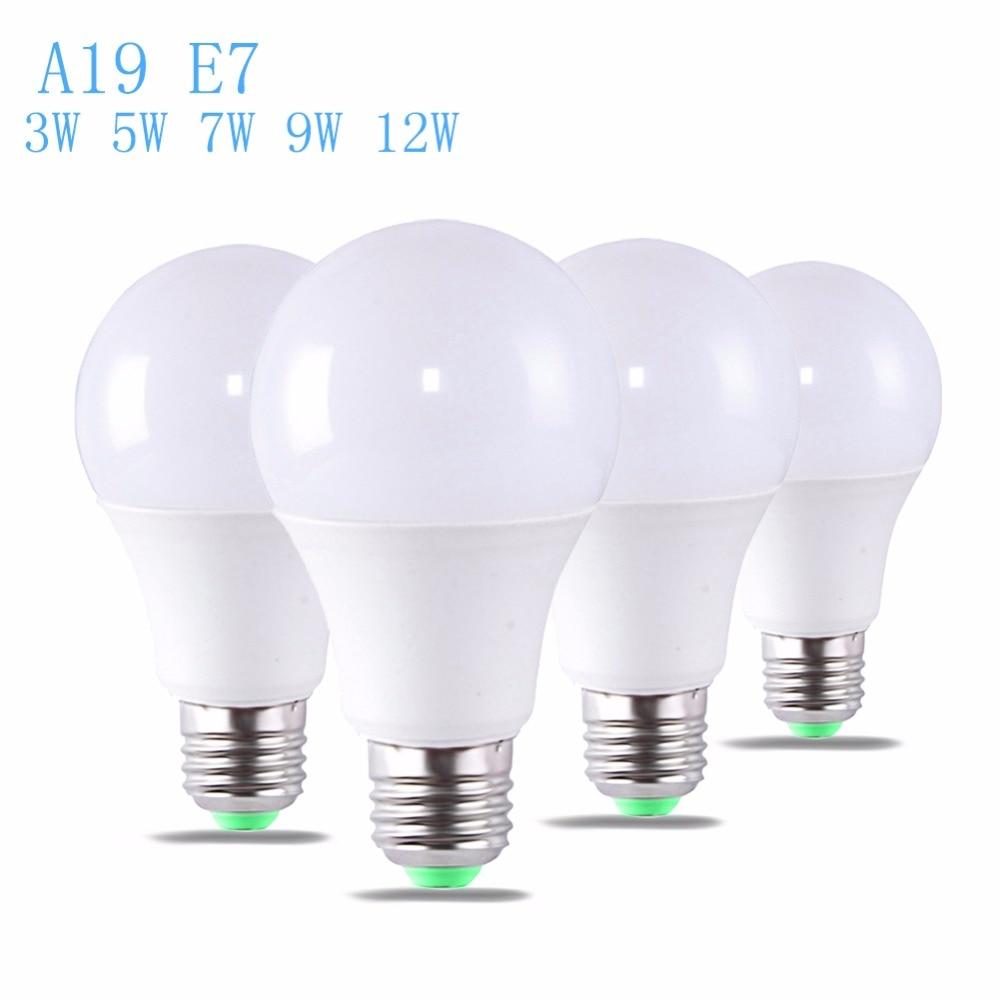 2 uds. Bombilla LED 3W 5W 7W 9W 12W A19 E27 potencia Real bombilla Led blanca cálida luz diurna foco LED blanca