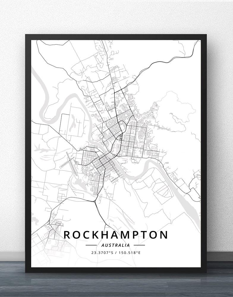 Rockhampton Shepparton Sunshine Sydney Tamworth Toowoomba Townsville Tweed Wagga Wodonga Wollongong Australia Map Poster