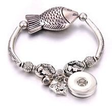 Nouveau Snap bijoux poisson forme perles poisson pendentif bracelet perlé ajustement 20MM 18MM boutons pression bijoux métal boutons pression Bracelet