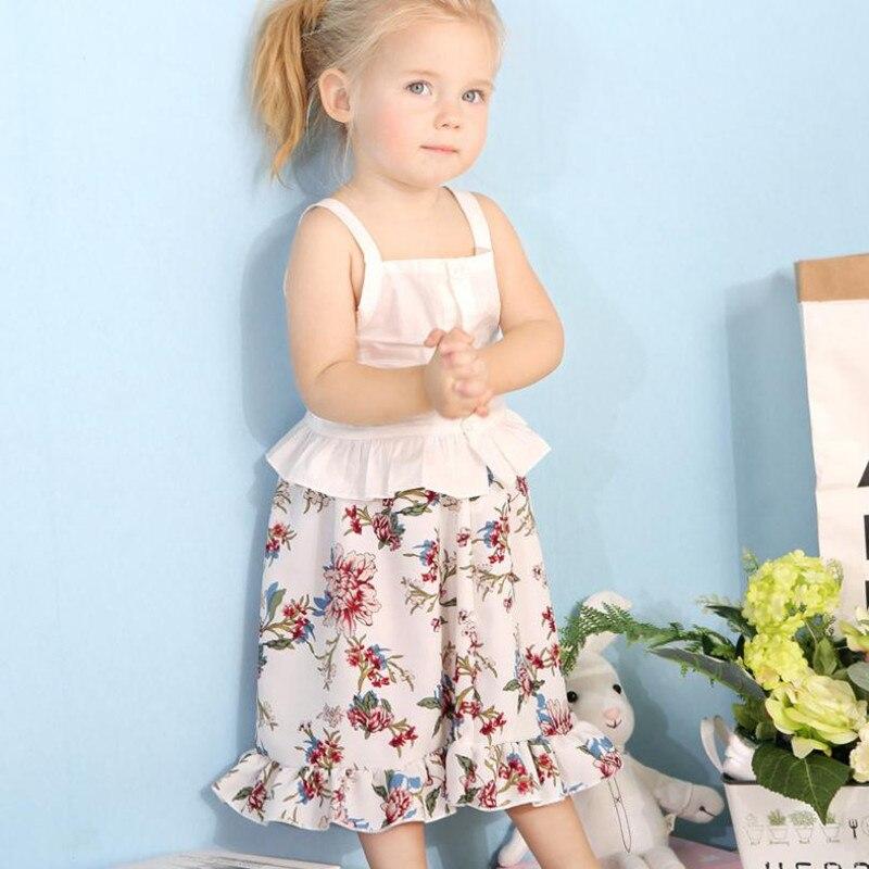 Комплекты летней одежды для маленьких девочек, комплект хлопковой одежды из 2 предметов для маленьких девочек, Белый однобортный Топ + длинн...