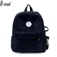 Backpack Female Simple Style School Backpack Canvas School Travel Backpacks Corduroy Student Backpacks  A4108