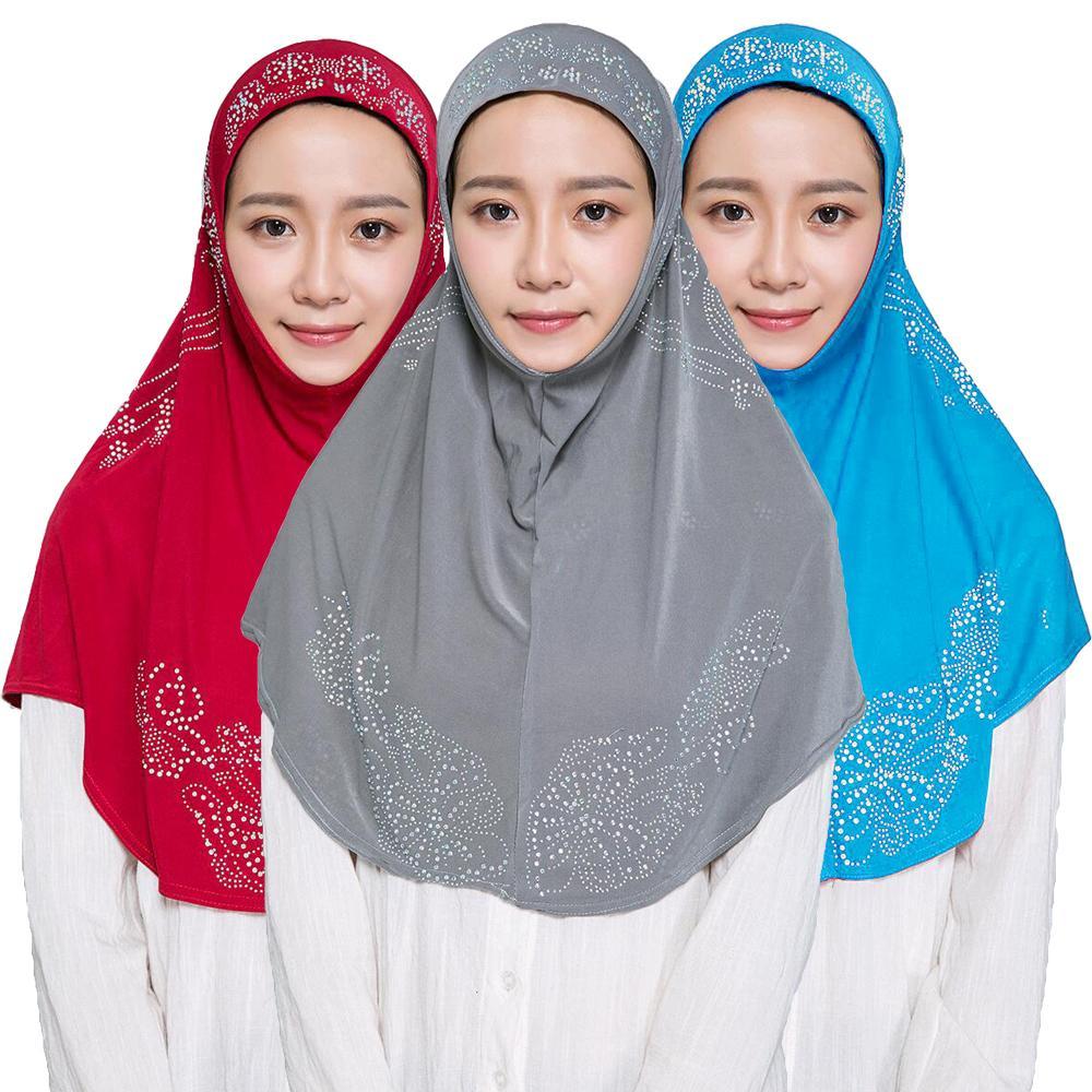Una pieza Hijab musulmán mujeres islámico caliente perforación bufanda Amira Headscarf gorro de turbante árabe cabeza Wrap Bandanas oración sombrero cubierta completa