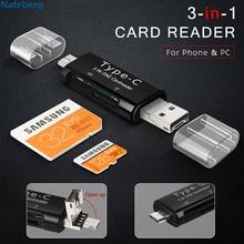 Natrberg Micro carte SD adaptateur 3 en 1 USB C lecteur de carte mémoire carte SD Mini TF lecture Type C USB-C mémoire pour PC téléphone Android