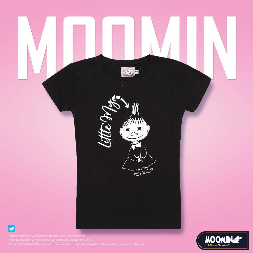 Moomin meninas dos desenhos animados camiseta preto o-pescoço moda algodão verão manga curta poliéster 10-18 anos meninas camiseta pouco meu