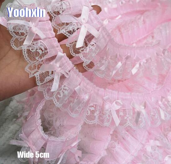 5CM Wide New pink Bow Embroidery 3D flower lace fabric trim ribbon DIY sewing applique collar fringe tassel wedding dress decor drop shoulder flower embroidery tassel tie dress