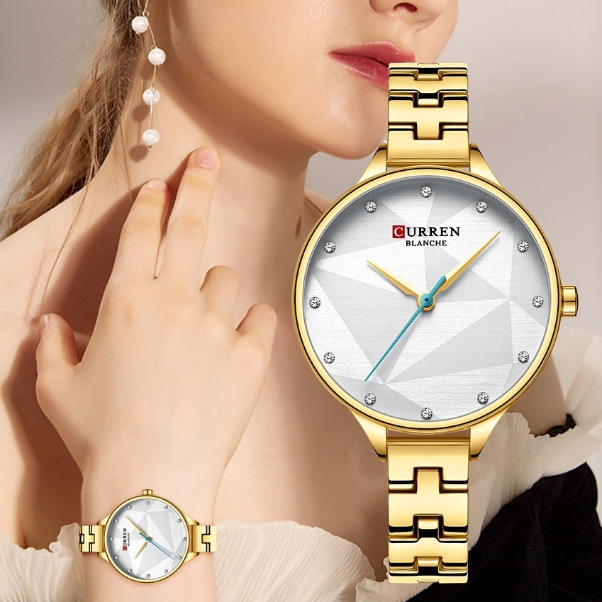 CURREN 2019 Women Fashion Watch Slim Golden Quartz Watches Rhinestone Crystal Female Dress Wristwatch Stainless Steel Belt Clock enlarge