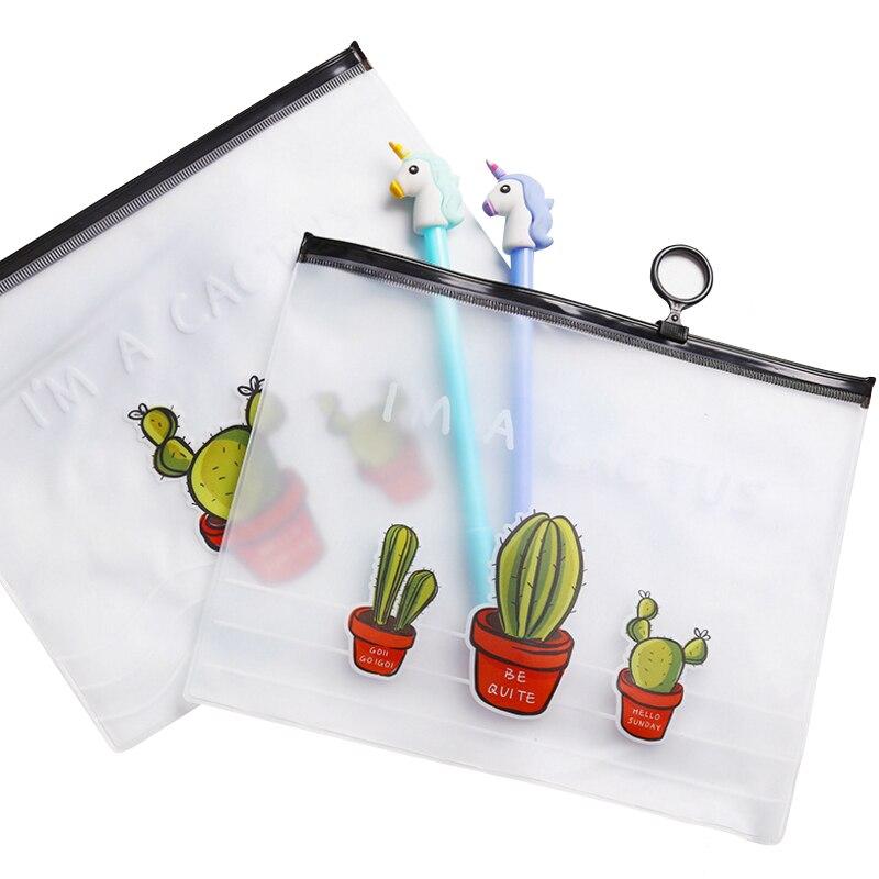 20 unids/lote, bolsa de bolsillo transparente para anillos, bolsa creativa para documentos, carpeta de archivos de gran capacidad para Cactus, suministros para regalos de fiesta