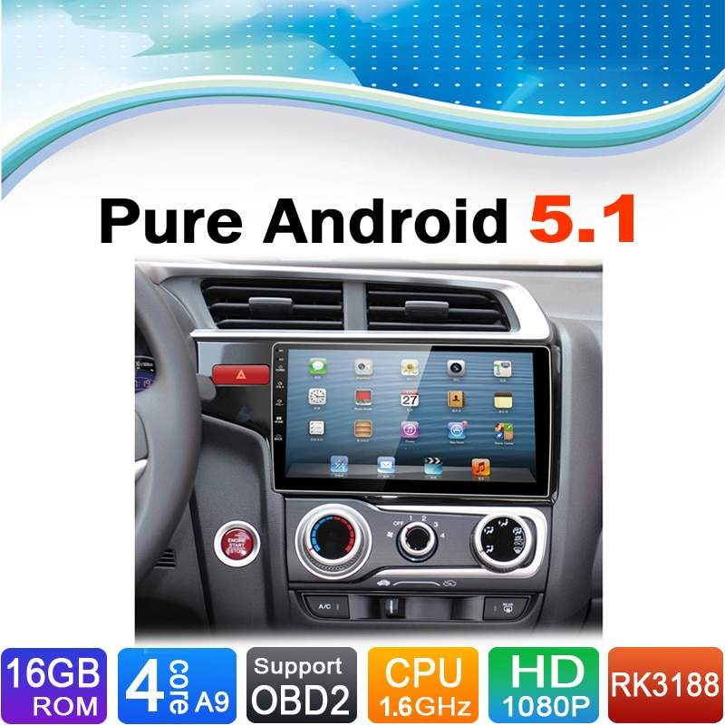 Android sistema 5.1.1, 16 gb flash, 4 core, 1024x600 hd, dvd del coche reproductor de radio auto estéreo multimedia para honda fit 2015 soporte 3g, wifi