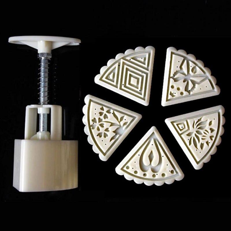 5 sellos de estilo 50g Flor del triángulo Luna torta molde galleta molde Set Mooncake decoración, herramientas de cocina