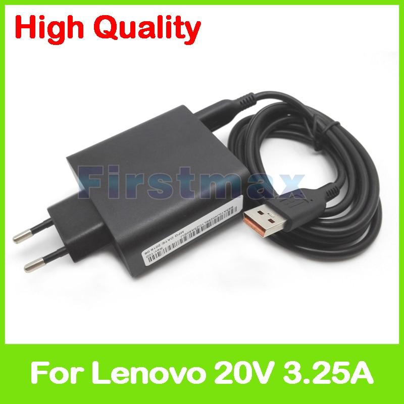 20V 3.25A 5,2 V 2A USB AC Power Adapter für Lenovo Yoga 900-12ISK Miix 4 Pro 4-12ISK tablet pc ladegerät ADL65WDC ADL65WDD EU Stecker