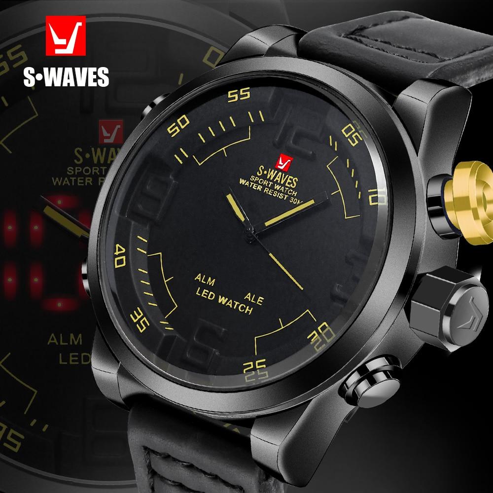 Reloj de pantalla Dual SWAVES de marca de lujo para hombre, reloj de cuarzo deportivo impermeable LED Digital, reloj de pulsera de cuero, reloj Masculino