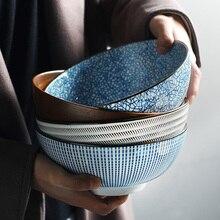 8 pulgadas japonés Ramen tazón de cerámica tazón de fideos Diseño de Rayas Gran Tazón de sopa restaurante hogar Bol Retro vajilla