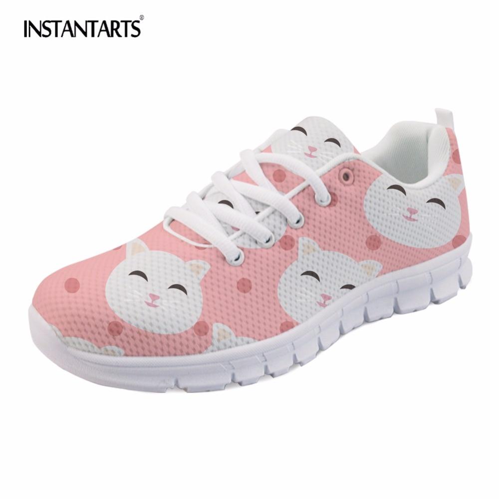INSTANTARTS 2018 New Fashion Women Sneakers Shoes Cute Cartoon Cat Design Casual Mesh Flats Shoes Girl Tenis Feminino Large Size