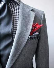 Costume Vintage en tweed à chevrons gris clair pour hommes/costumes de mariage pour hommes 3 pièces costumes de mariage (veste + pantalon + cravate)