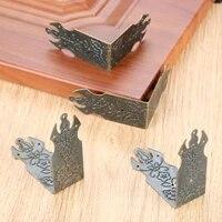 4pcs vintage luggage case box corner pattern carved corners brackets decorative furniture decoration box corner bronze tone