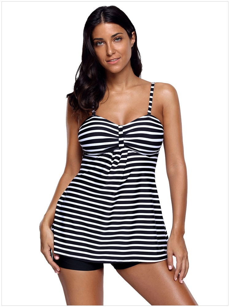 Полосатый Танкини и короткий набор пикантные летние печати купальники для Для женщин купальные костюмы 4F410329