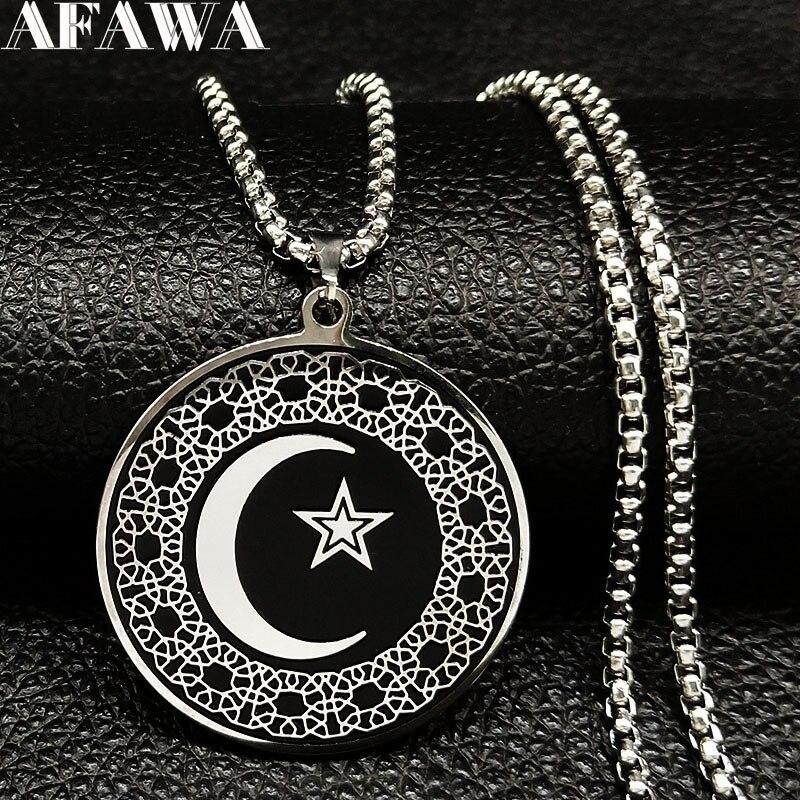 Модные мусульманские ожерелья из нержавеющей стали «Луна» 2020, мужские ожерелья черного и серебряного цветов, подвески, ювелирные изделия, colgante N732S02