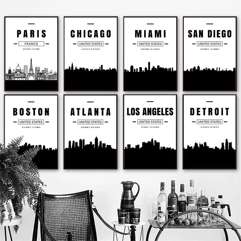 Париж, Майами, Чикаго, Бостон, Атланта, Детройт, город, карта, настенная живопись, холст, скандинавские постеры и принты, настенные фотографии, гостиная