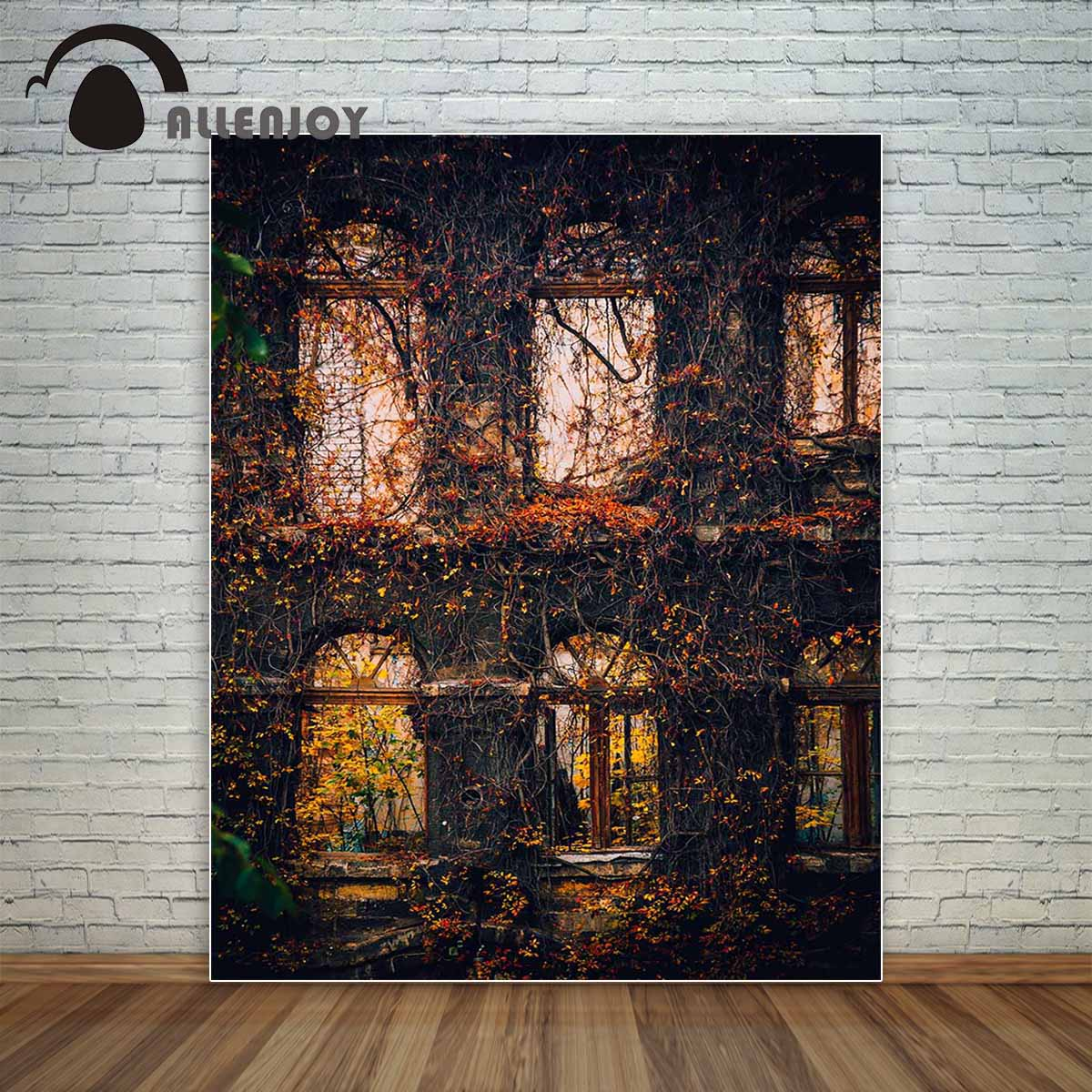 Allenjoy fotografia pano de fundo janelas moitas crescidas plantas outono vintage fundo novo design original para estúdio de fotos