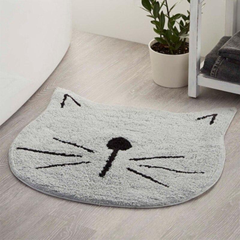 Carpet Cartoon Cat Microfiber Bathroom Mat Kitchen Bedroom Water Absorption Nonslip Rug Bathroom Mat Set 60*60cm White Red Gray