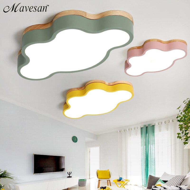¡Oferta! lámparas led de techo para habitación de niños, lámparas modernas con polarizador de Color, lámparas de luminaria deco con madera para sala de estudio