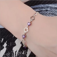 lukeni top quality 925 silver women party jewelry charm girl crystal star lady anklets accessories hot christmas birthday gift