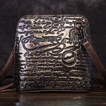 High Quality Genuine Leather Women Shoulder Bags Pouch Embossed Letter Pattern Vintage Natural Skin Cross Body Messenger Bag
