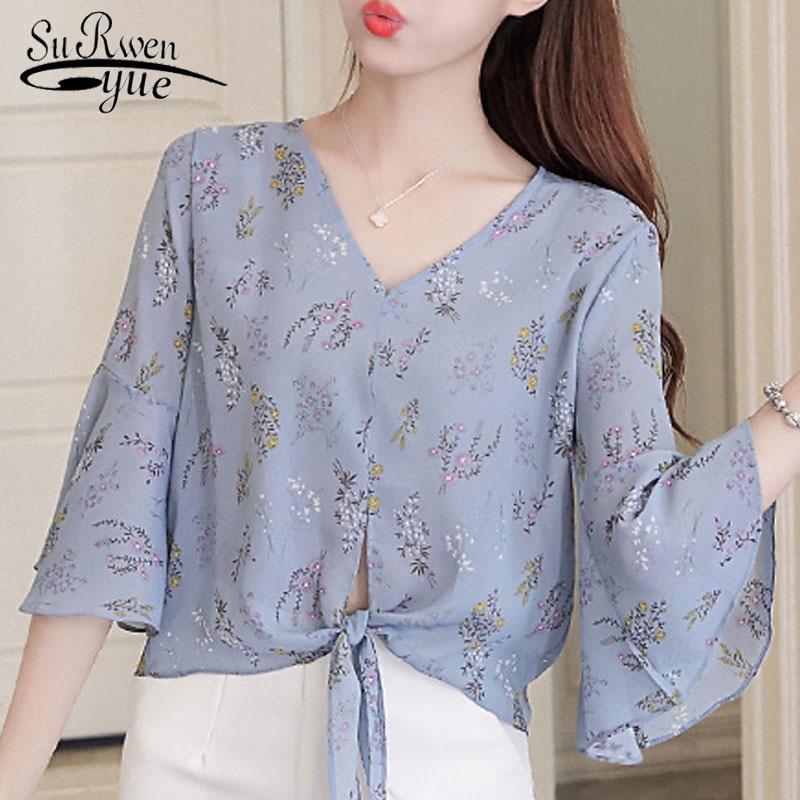 New Summer flare sleeve print chiffon women blouse shirt fashion 2020 v collar women's clothing sweet women tops blusas D780 30