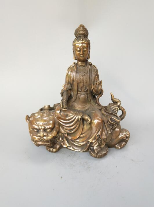 Estatua de Buda de bronce puro chino