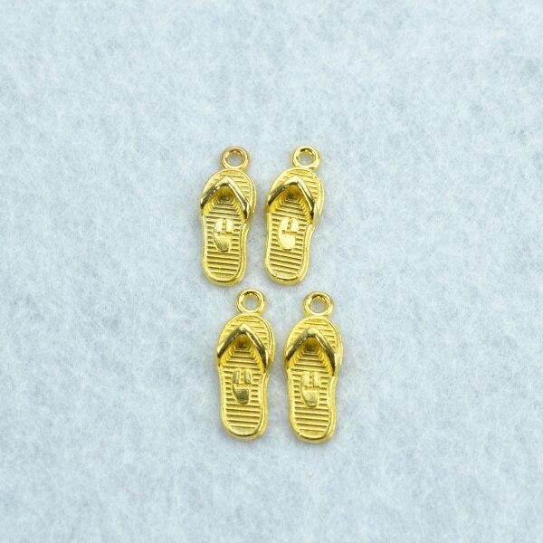25 uds zapatillas de color dorado dijes collar pendiente pulsera joyería hacer Artesanías hechas a mano diy suministros 21*8mm 1553