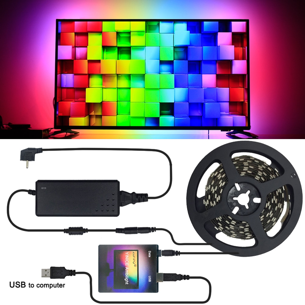 Ambilight TV PC WS2812B 5050 RGB Smart USB led strip light Tape Ribbon kit laptop Computer Dream Screen Background  lighting