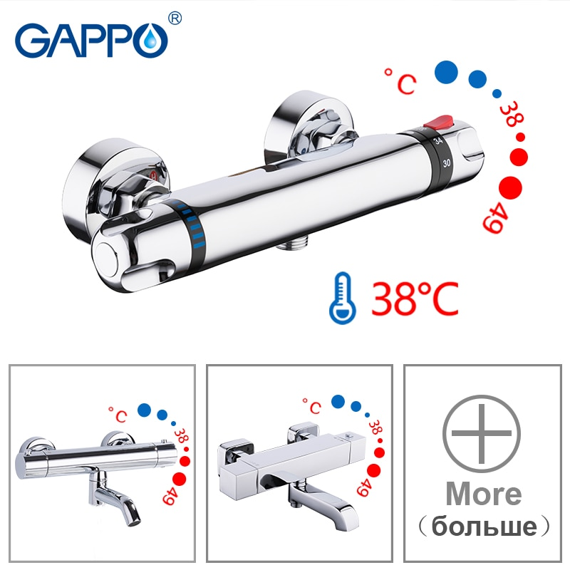 GAPPO Sanitary Ware Suite bathroom thermostatic shower tap set bathtub faucet main body bath shower mixer shower system set
