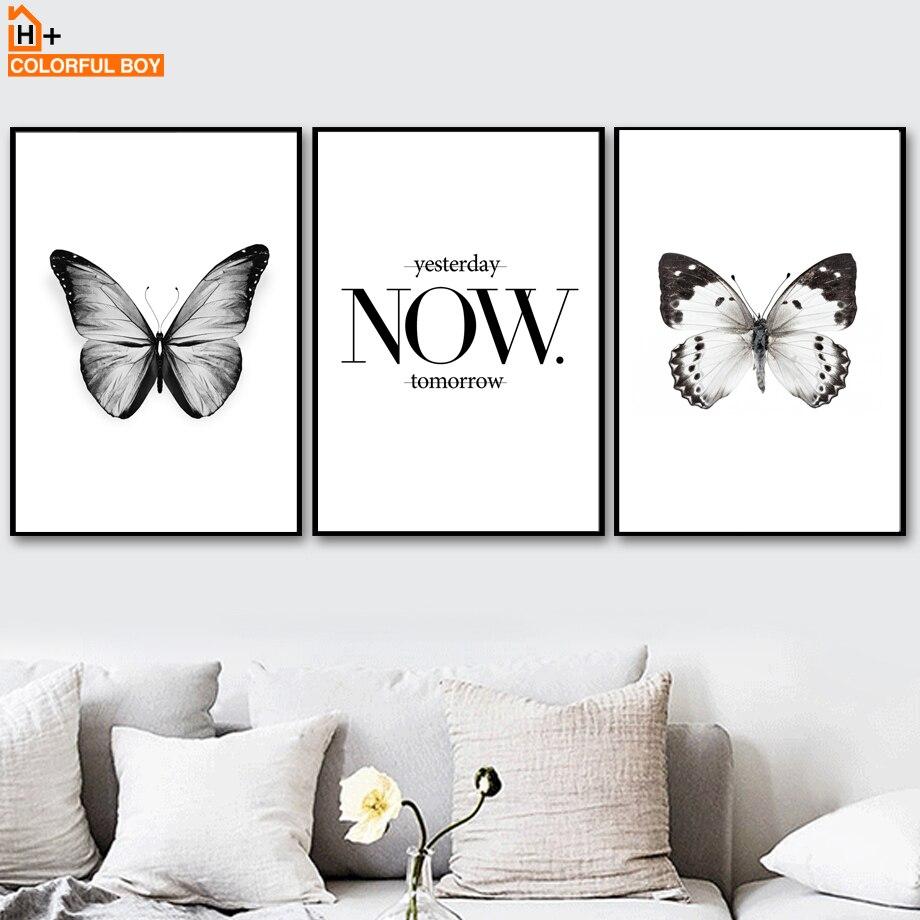 Цветные бабочки цитаты черно-белые плакаты и принты настенная живопись холст настенные картины для декора гостиной