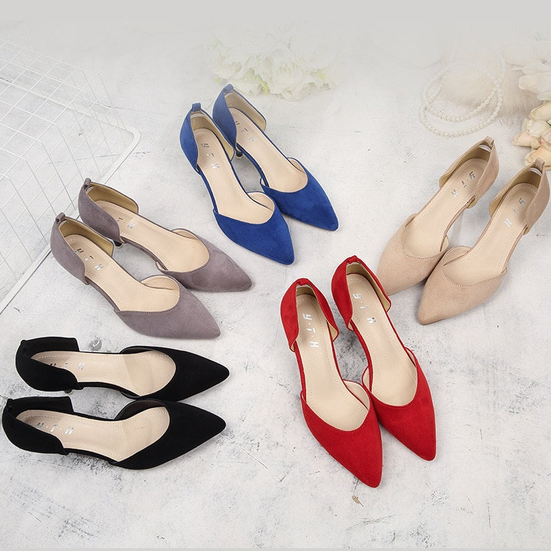 Women Shoes Pumps OL Office Lady Shoes Flock Fashion Spring Buckle 6CM Thin High Heels Woman Shoes