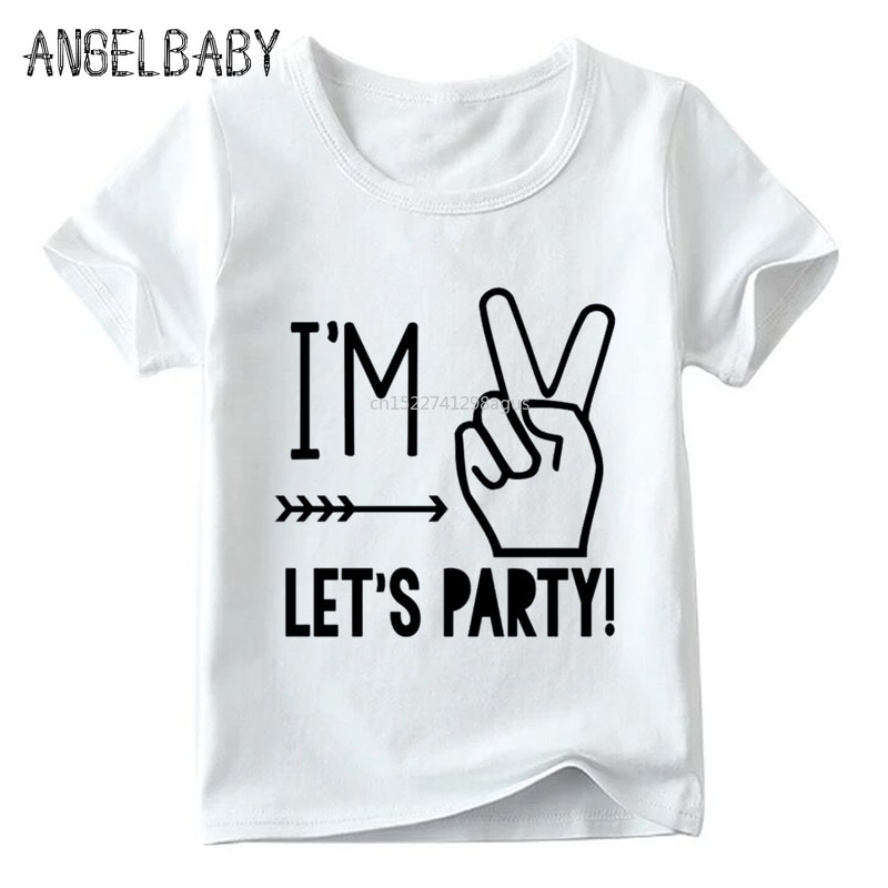 Camiseta para niños con diseño de fiesta Im 1/2/3/4/5, camiseta blanca de verano para bebé, regalo de cumpleaños para niño y niña con dibujo de números, ooo5214