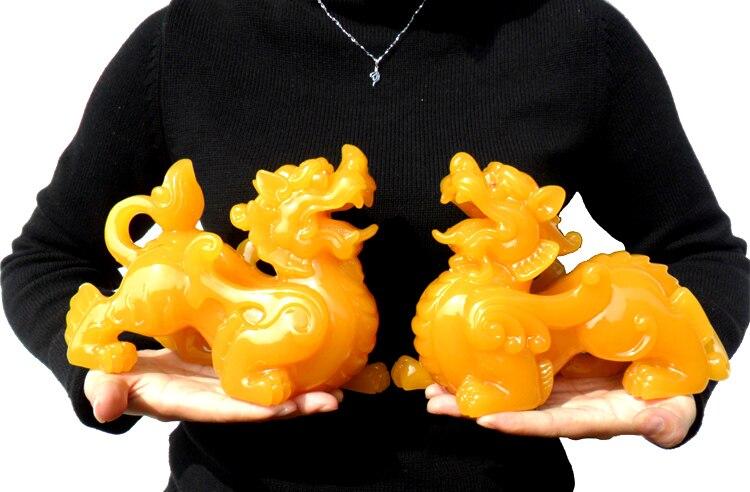 Um par-20 CM Grande # loja Da Empresa de escritório eficaz FENG SHUI Talismã Convidando Dinheiro PI XIU jade amarelo ARTE DA Escultura estátua