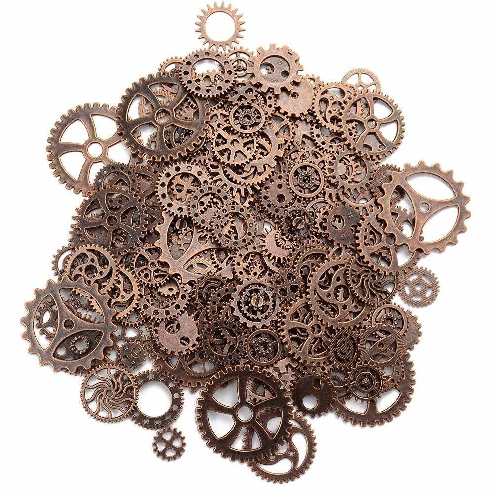 Alrededor de 120 g/lote DIY joyería fabricación Metal Vintage engranaje mixto colgante de engranaje Steampunk encantos bronce pulsera Accesorios