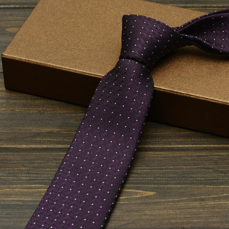 High Quality Mens Ties 6cm Width Skinny Narrow Purple Classic Jacquard Woven Necktie For Wedding Groom Party Business Gift Box