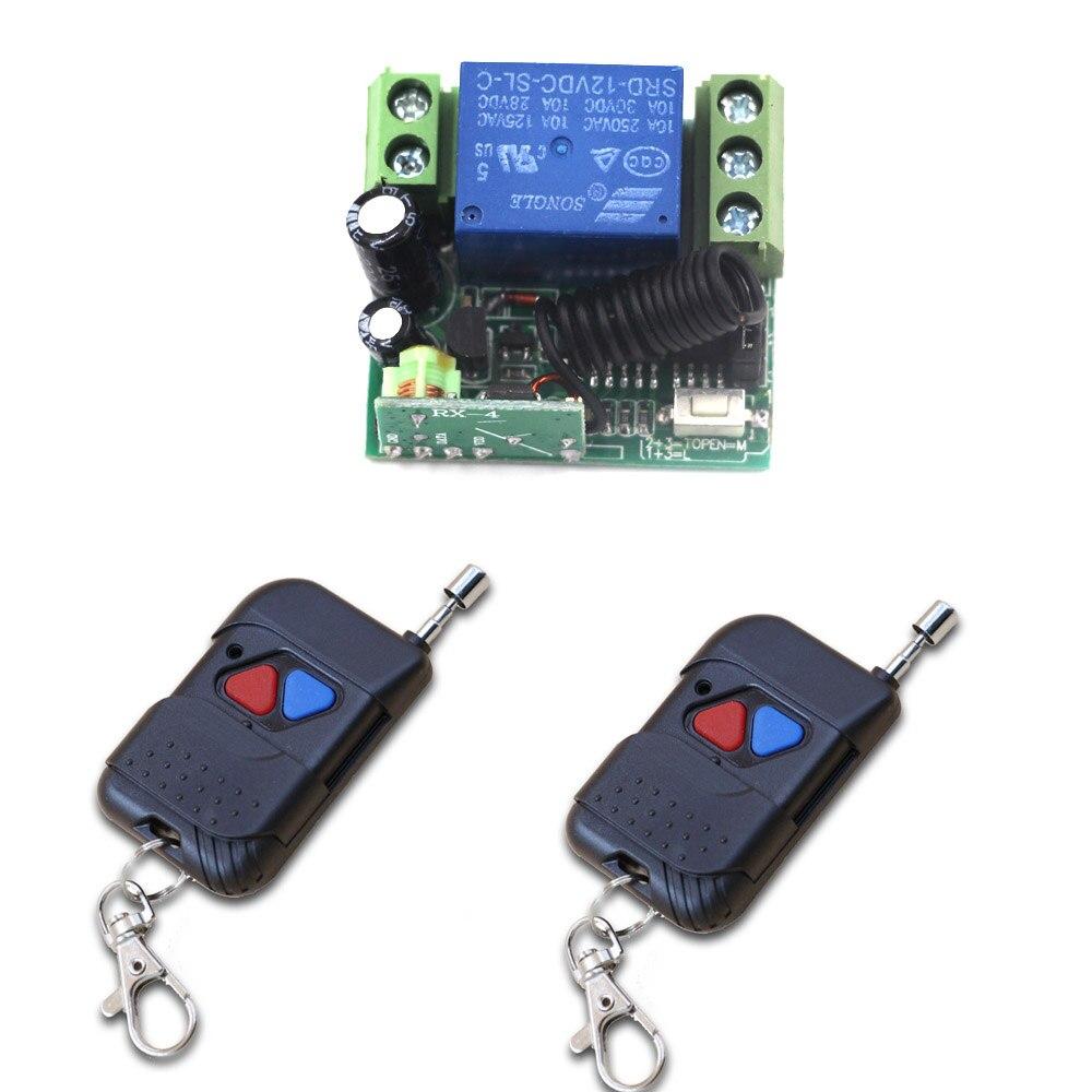 DC 12V Mini Wireless Remote Control Switch 1 CH Intelligent Family System 1X Receiver+2X Transmitters with 2Keys 315/433mhz