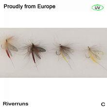Riverruns Realistische Fliegen Mayfly Trockenen Fliegen Trout UV fliegen 4 Farbe Mit Fly Box