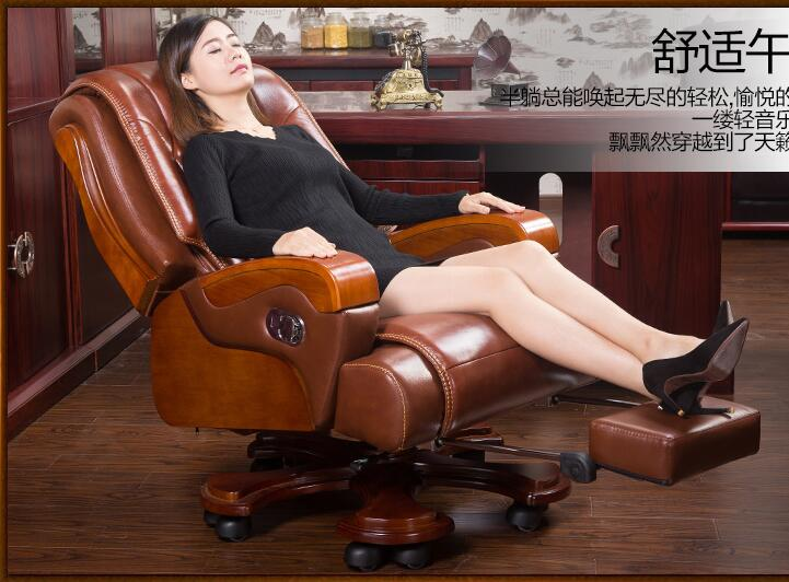 Real wood chair. Leather boss chair. Can massage office chair. Lift and swivel chair home computer chair011 real leather boss chair can lie high grade massage computer chair home office chair real wood swivel chair 08